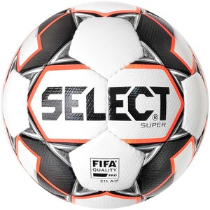 Мяч футбольный SELECT SUPER FIFA (011) №5 WHITE-GREY-ORANGE (3625546009)